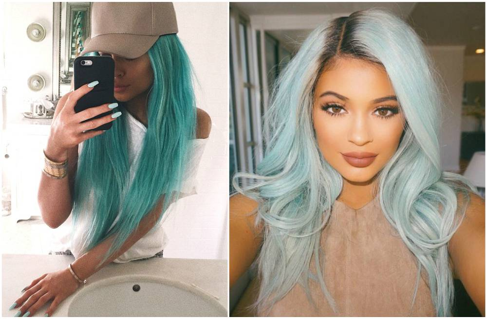 Kylie Jenner hairstyles - blue color