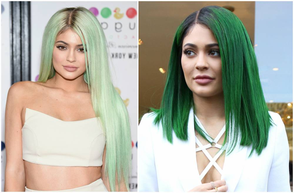 Kylie Jenner hairstyles - Green color