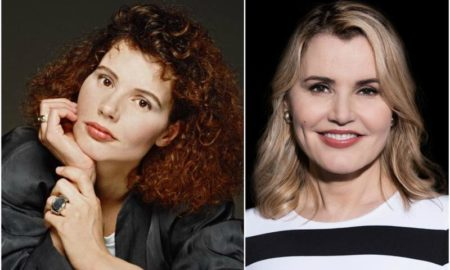 Geena Davis` eyes and hair color