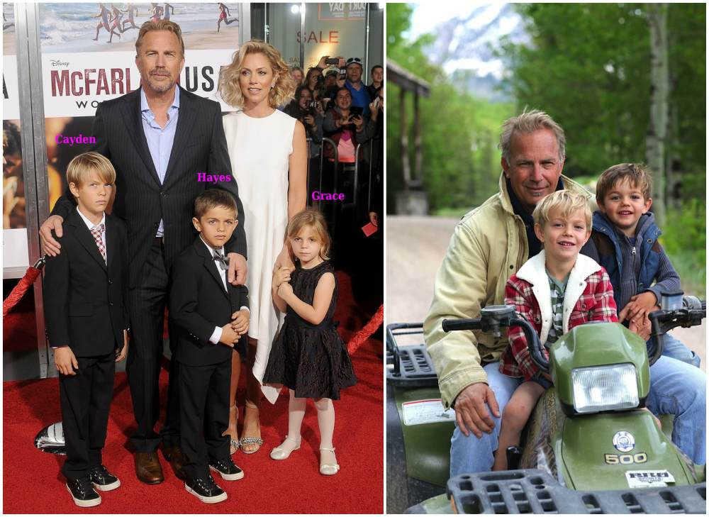 Kevin Costner`s children - Cayden Wyatt Costner, Hayes Logan Costner, Grace Avery Costner