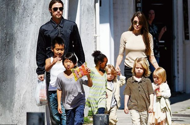 Brad Pitt and Angelina Jolie and thier children