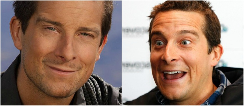 Bear Grylls` eyes and hair color