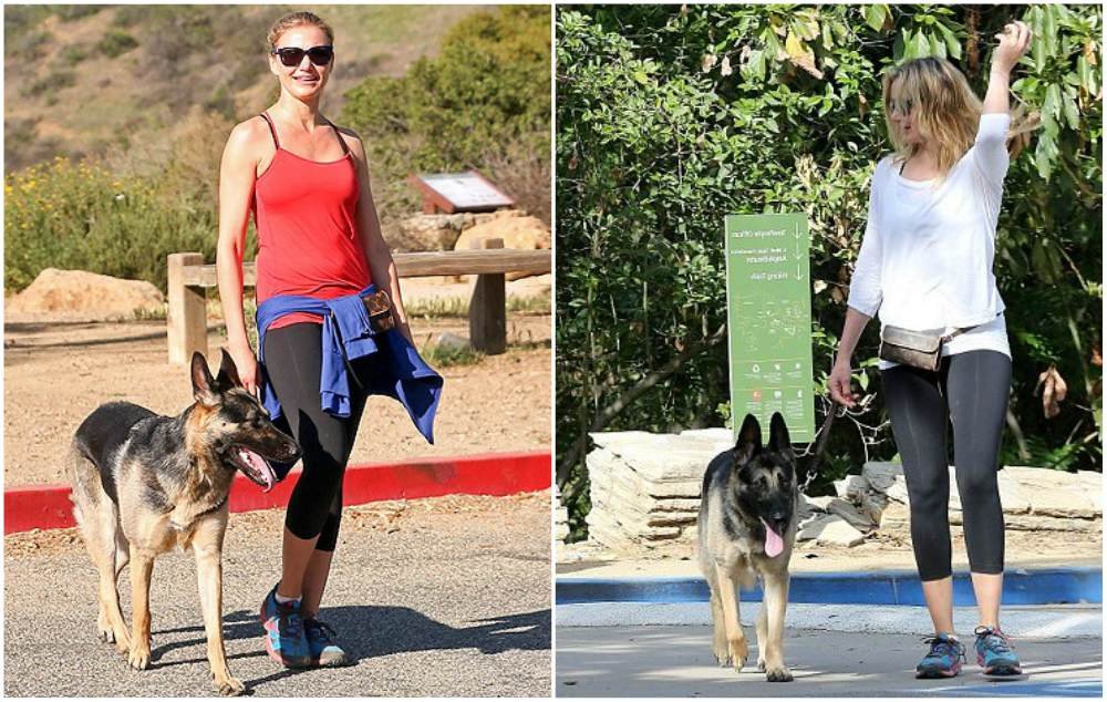 Cameron Diaz with her pet German shepherd