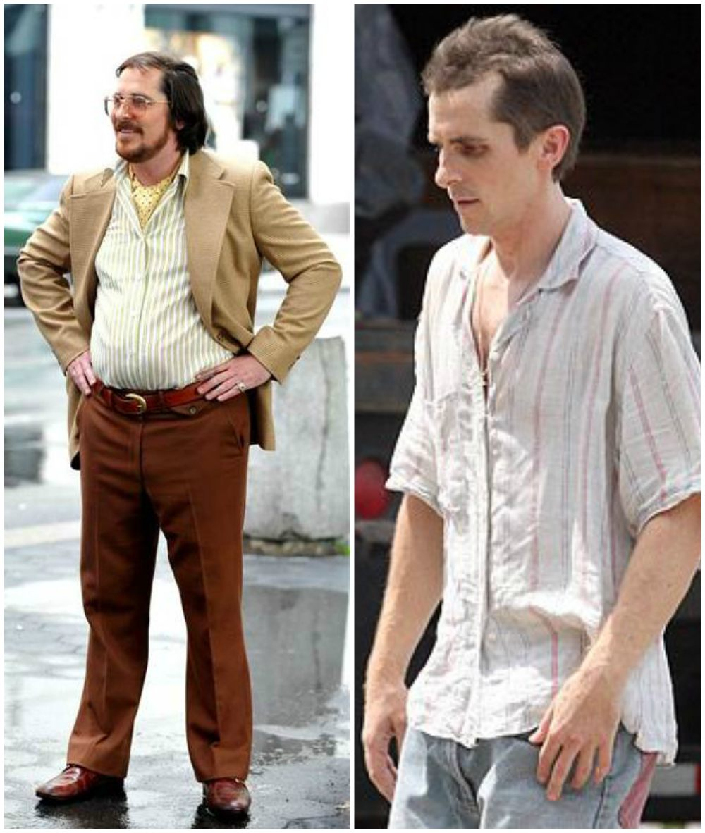 Christian Bale`s body shape in American Hustle (2013) and The Fighter (2010)