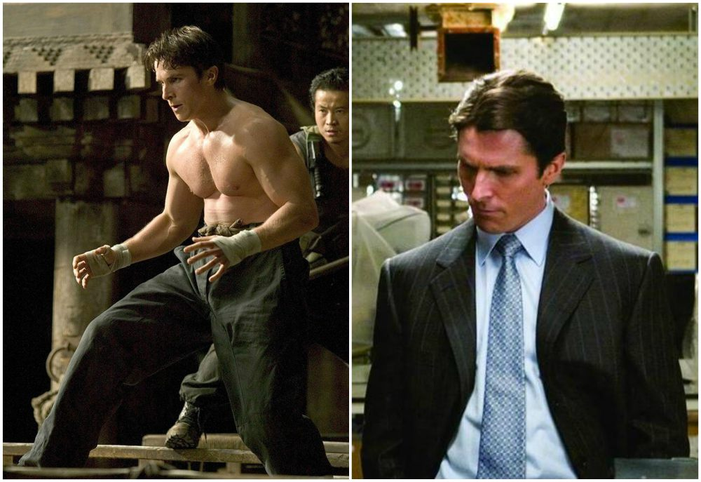 Christian Bale`s body shape in Batman Begins, 2005