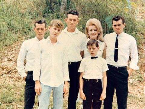 Dolly Parton with her brothers