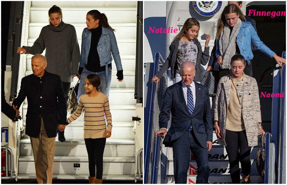Joe Biden with his granddaughters - Natalie Biden, Finnegan Biden, Naomi Biden