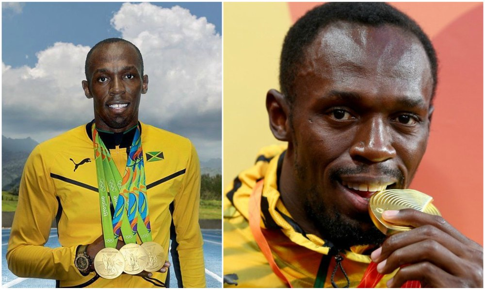 Usain Bolt`s eyes and hair color