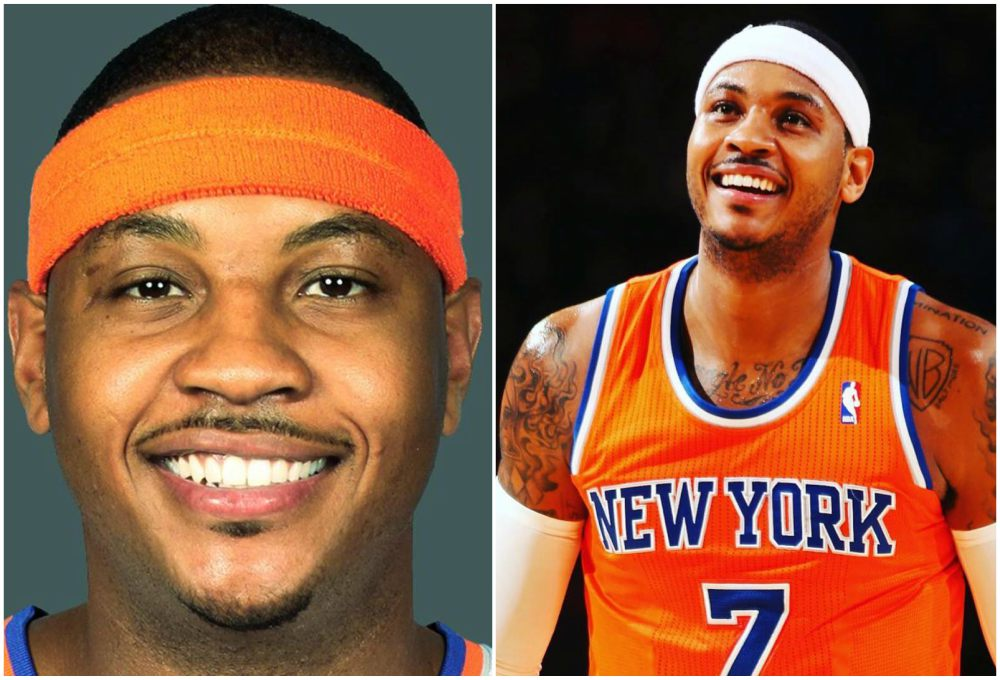 Carmelo Anthony`s eyes and hair color