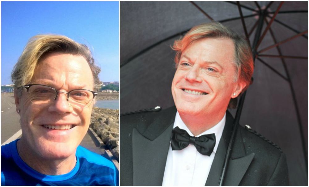 Eddie Izzard`s eyes and hair color