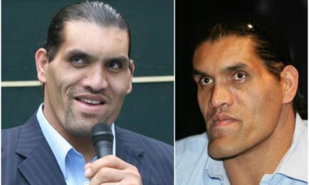 Great Khali`s eyes and hair color