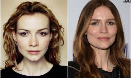 Saffron Burrows` eyes and hair color