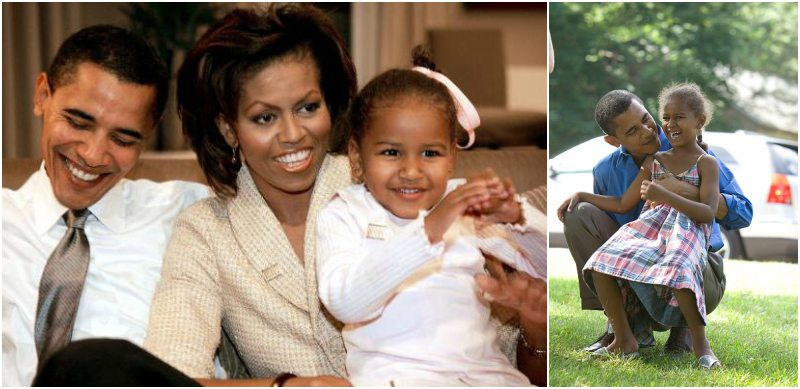 Little Sasha Obama with parents