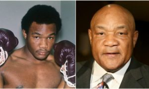 George Foreman`s eyes and hair color