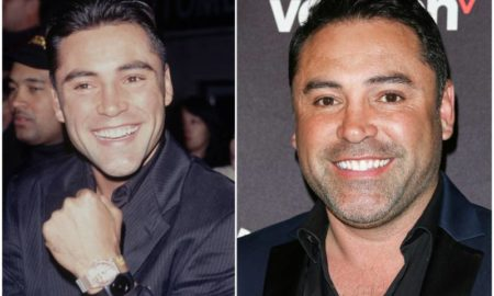 Oscar De La Hoya`s eyes and hair color