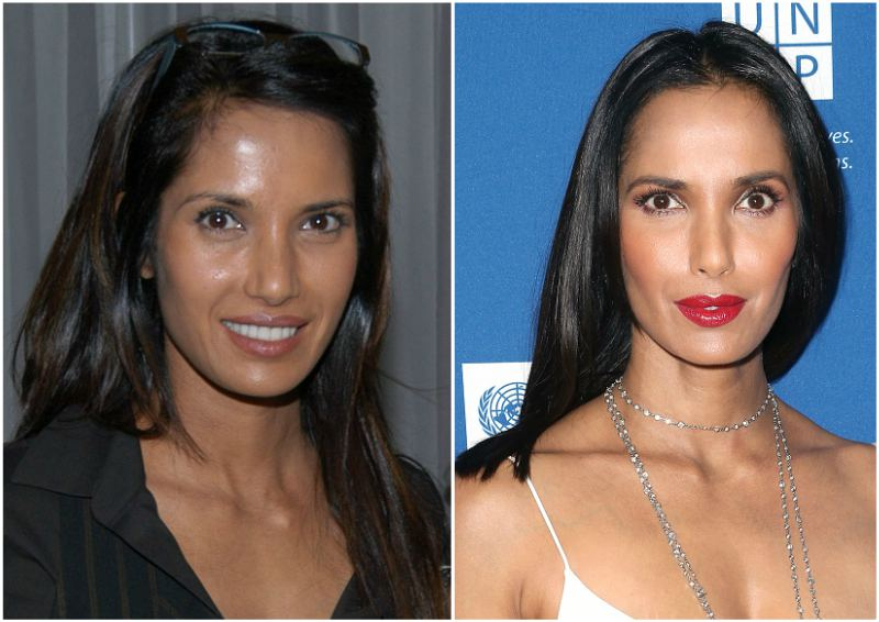 Padma Lakshmi`s eyes and hair color