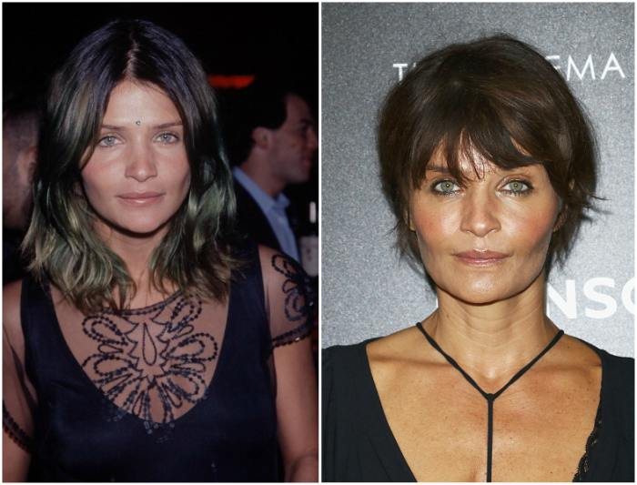 Helena Christensen`s eyes and hair color