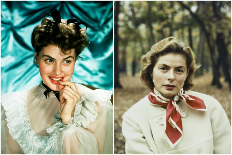 Ingrid Bergman`s eyes and hair color