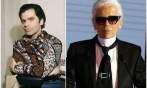 Karl Lagerfeld`s eyes and hair color