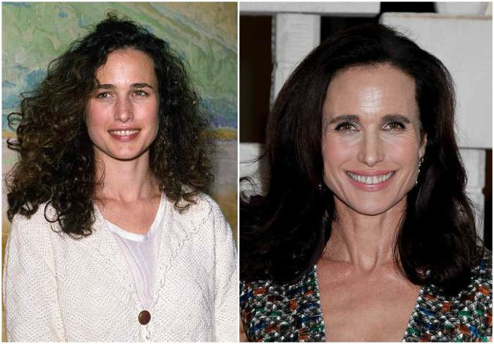 Andie MacDowell's eyes and hair color