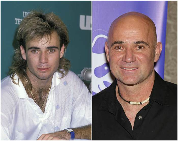 Andre Agassi's eyes and hair color
