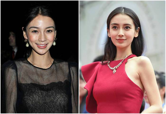 Angelababy's eyes and hair color