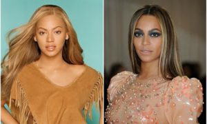 Beyonce`s eyes and hair color