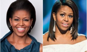 Michelle Obama`s eyes and hair color