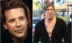 Mickey Rourke's eyes and hair color