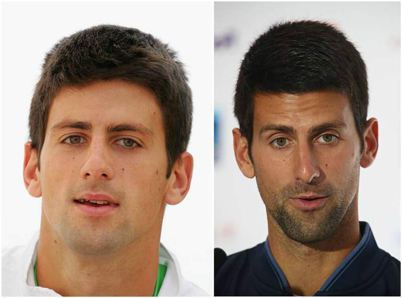 Novak Djokovic's eyes and hair color