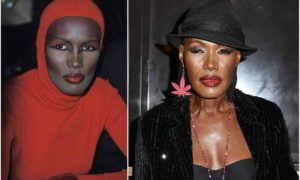 Grace Jones' eyes and hair color