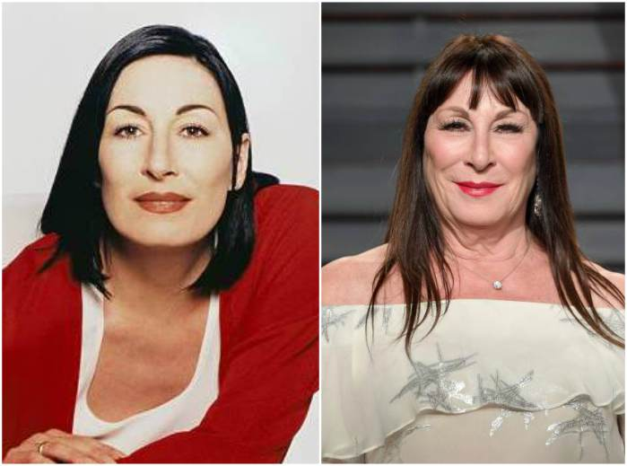 Anjelica Huston's eyes and hair color
