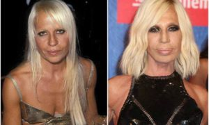 Donatella Versace's eyes and hair color