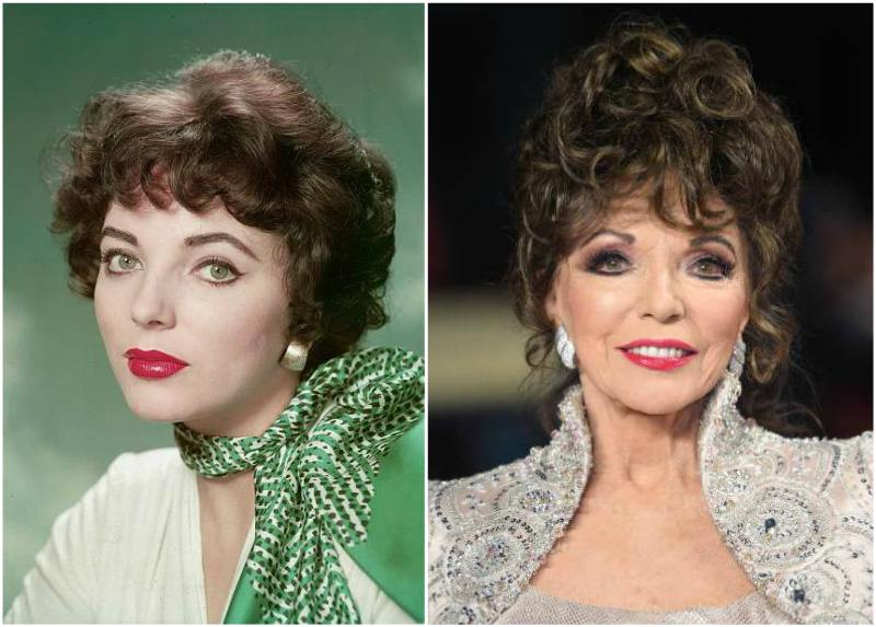Joan Collins' eyes and hair color