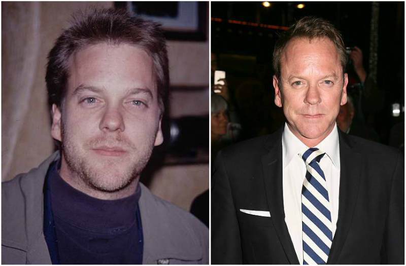 Kiefer Sutherland's eyes and hair color
