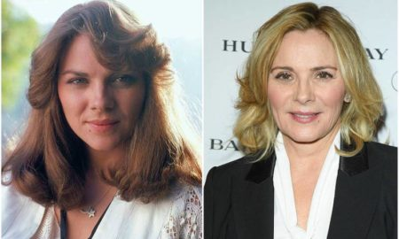 Kim Cattrall's eyes and hair color