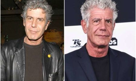 Anthony Bourdain's eyes and hair color