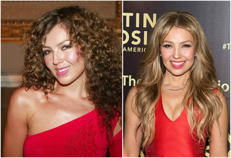 Singer Thalia's eyes and hair color