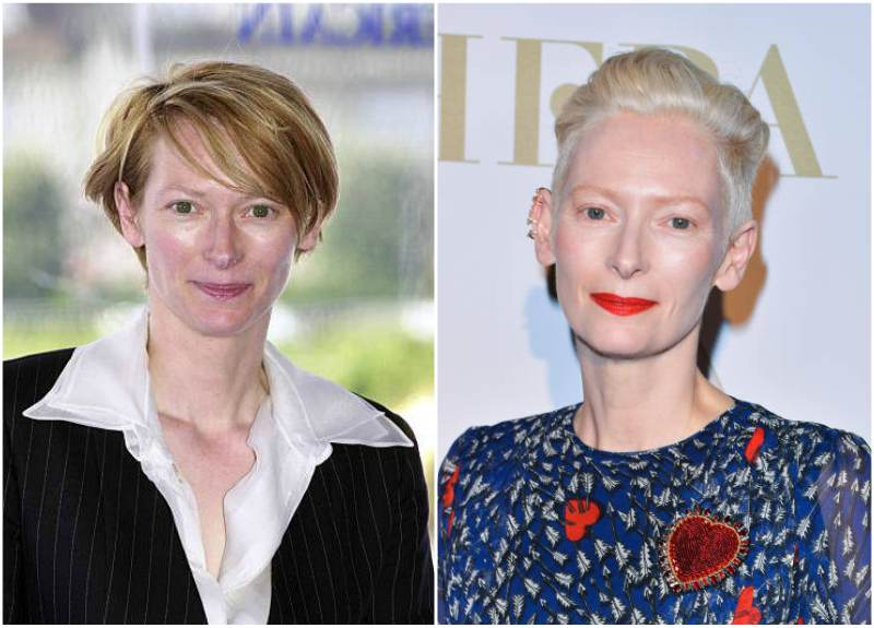 Tilda Swinton's eyes and hair color