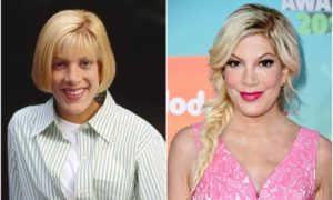 Tori Spelling's eyes and hair color