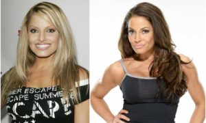 Trish Stratus' eyes and hair color