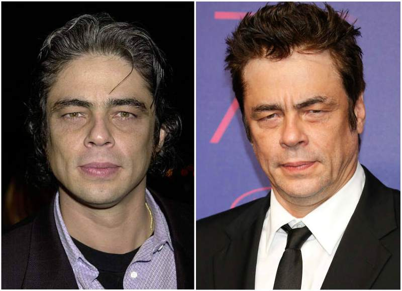 Benicio Del Toro's eyes and hair color