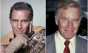 Charlton Heston's eyes and hair color