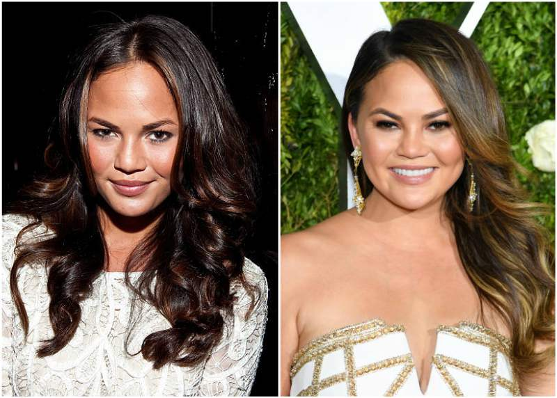 Chrissy Teigen's eyes and hair color
