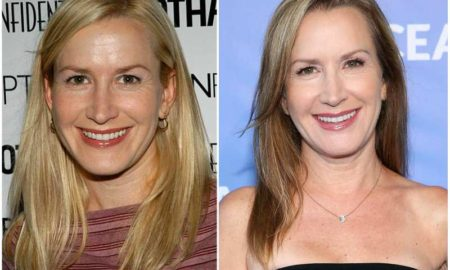 Angela Kinsey's eyes and hair color