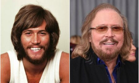 Barry Gibb's eyes and hair color