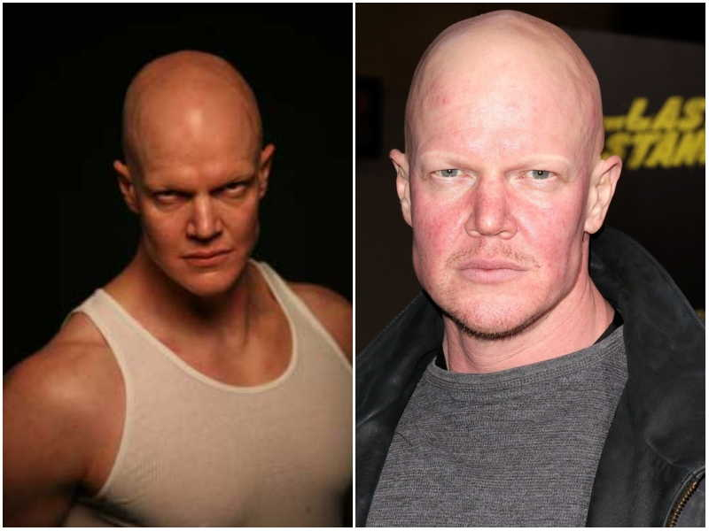 Derek Mears's eyes and hair color