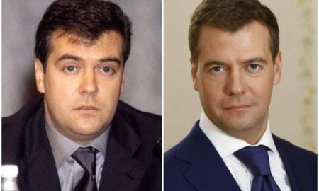 Dmitry Medvedev's eyes and hair color