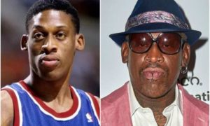 Dennis Rodman's eyes and hair color