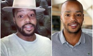 Donald Faison's eyes and hair color